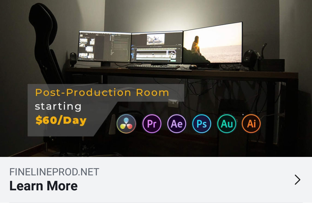 Whether it's video editing or color grading,  graphic design, or animation, you can rent a  post production room and work on your own, or with your post-production team, or hire us at Fine Line Production to work together on your  project.